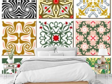 Vintage retro ceramic tile pattern set collection 010