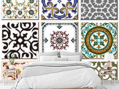 Vintage retro ceramic tile pattern set collection 025