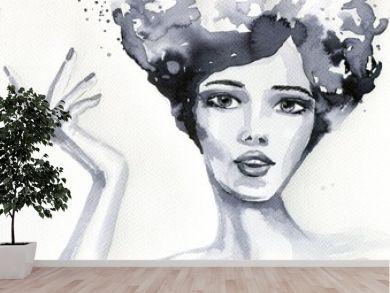 portret akwarelowy kobiety