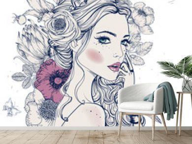 young beautiful woman wirh flowers