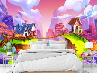 Creative Illustration and Innovative Art: Cabin in the Mountain! Realistic Fantastic Cartoon Style Artwork Scene, Wallpaper, Story Background, Card Design