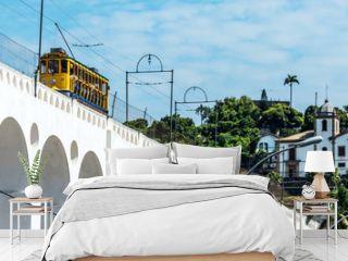 Yellow Train under the Lapa district in Rio de Janeiro, Brazil