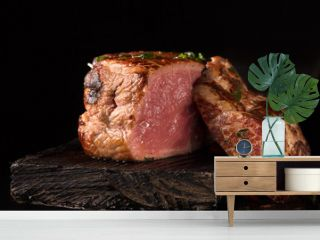 Grilled Steak Meat on the wooden surface