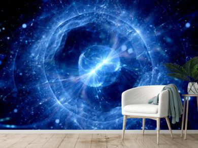 Blue glowing gravitaional wave abstract background