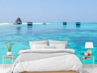 Panorama of tropical lagoon on the island in Indian Ocean. Maldives.