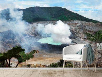 Caldera of Active Volcano Poas, Coast Rica