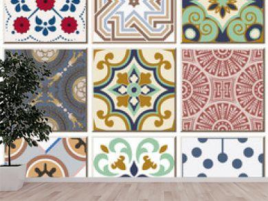 Vintage retro ceramic tile pattern set collection 041