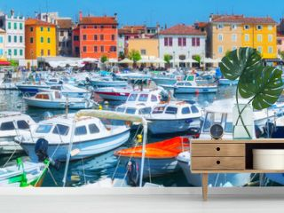 Panorama ancient town on the Adriatic Sea. Terracotta roo