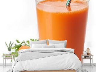 Glass of fresh carrot juice