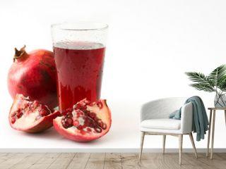 Pomegranate juice isolated on white background