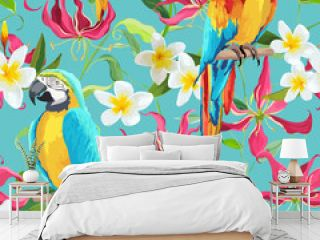 Tropical Flowers and Parrot Bird Background - Fire Lily Flowers