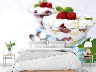 Traditional english dessert eton mess with fresh raspberry.