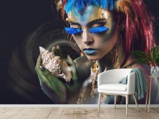 Beautiful young girl with body art in an  fantasy style