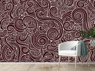 Decorative hand drawn doodle nature ornamental curl  seamless pattern