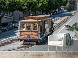 San Francisco, California, USA - APRIL 24, 2016:  Cable car at California street, documentary editorial.