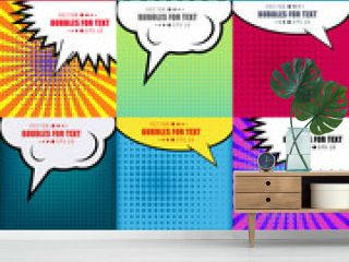 Abstract Creative concept vector comics pop art style blank layout template with clouds beams and isolated dots pattern on background. For Web and Mobile Applications, illustration template design