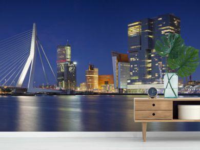 Rotterdam Panorama. Panoramic image of Rotterdam, Netherlands during twilight blue hour.