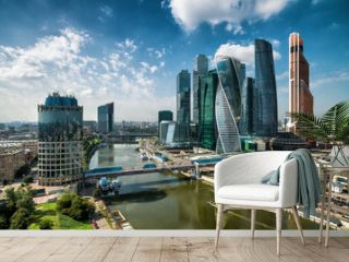 Aerial view of Moscow-Cty in summer, Moscow skyline with skyscrapers