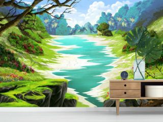 The Small River in the Forest Land. Video Game's Digital CG Artwork, Concept Illustration, Realistic Cartoon Style Background