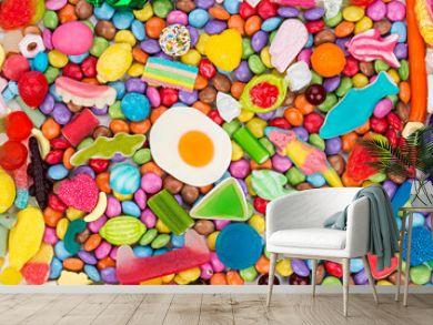 colorful tasty sweets candy background / bunter süßwaren süßigkeiten hintergrund