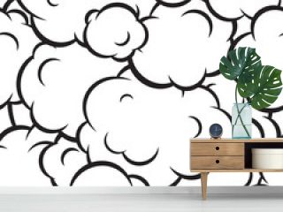 Pop art smoke seamless vector pattern