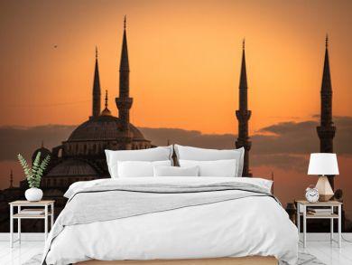 夕日に染まるブルーモスク