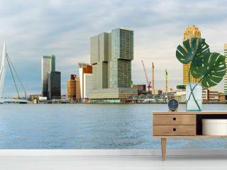 Skyline von Rotterdam mit Erasmusbrücke, Holland