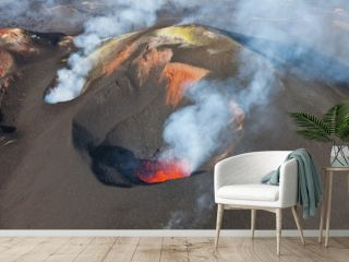 Volcanic eruption Tolbachik. Lava flow.
