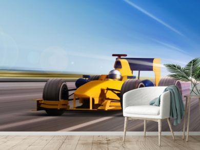 yellow race car