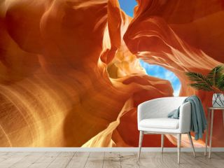 sculpted sandstone walls in Lower Antelope Canyon