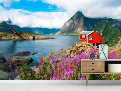 Lofoten islands landscape with tipical red houses, Norway