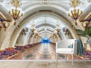 Interior of Arbatskaya subway station in Moscow, Russia