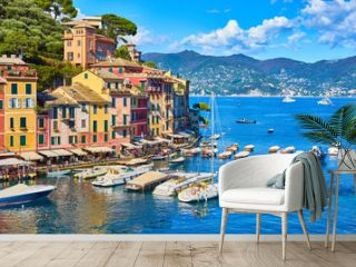 """Old town of """"Portofino"""" in Italy / Harbor on sunny summer day"""