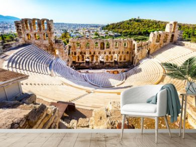 Ancient Amphitheater of Acropolis of Athens, landmark of Greece