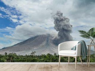 Eruption of volcano. Sinabung, Sumatra, Indonesia. 28-09-2016