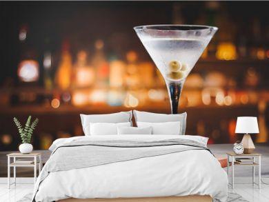 Martini cocktail on counter bar.