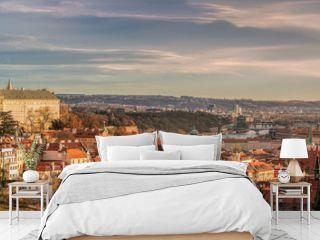 Prague panorama with Prague Castle, Prague river Vltava and many