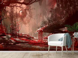 bloodyland,horror landscape, illustration,digital paintng