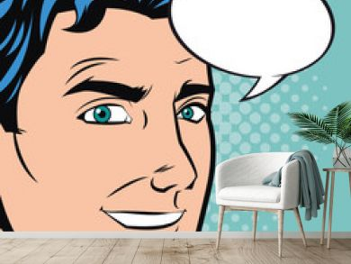 Man cartoon with bubble icon. Pop art comic and retro theme. Colorful design. Vector illustration
