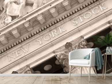 Detail of the New York Stock Exchange at Wall Street in New York