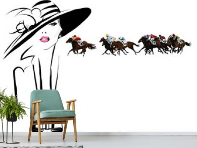 Woman in a horse racecourse