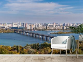 Panoramic view of Dnepr river and Kiev city, Ukaine