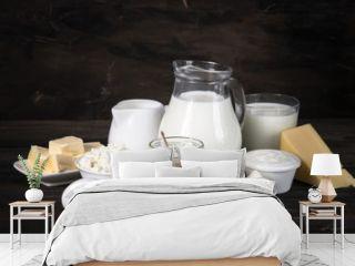 Dairy products. Milk bottle, curd, yogurt, mozzarella, cheese.