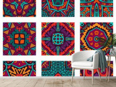 Seamless geometric flower Ethnic pattern background