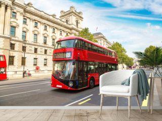Modern red double decker bus, London