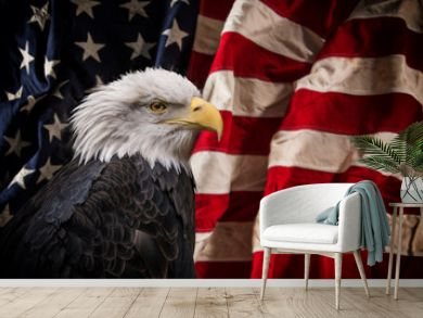 American Bald Eagle with Flag.