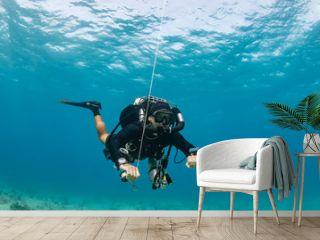 SCUBA diver on a closed circuit rebreather