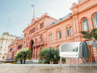 Casa Rosada (Pink House), presidential  Palace in Buenos Aires, Argentina, view from the front entrance