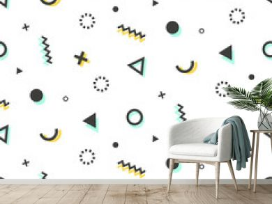 Geometric seamless pattern background in retro 80s-90s style