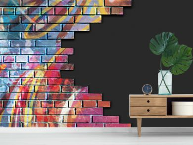 Old brick, broken colorful painted wall with dark copy space